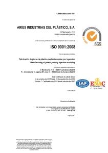 CERTIFICADO ISO 9001 2008 Edicion 7